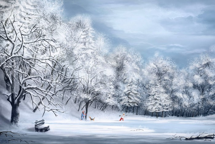 1300x875_2762_Winter_2d_landscape_snow_winter_tree_ice_lake_children_picture_image_digital_art